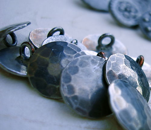 Silver hammered buttons