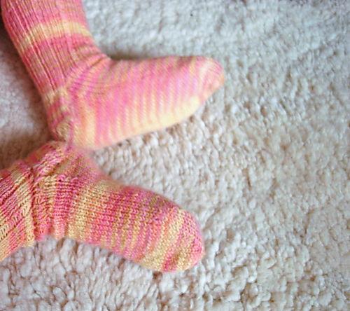 Lilly in socks stripy