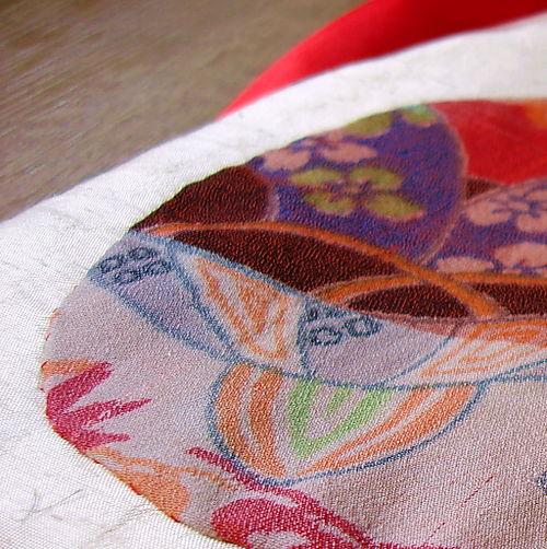 Japanese kimono silk fabric bag