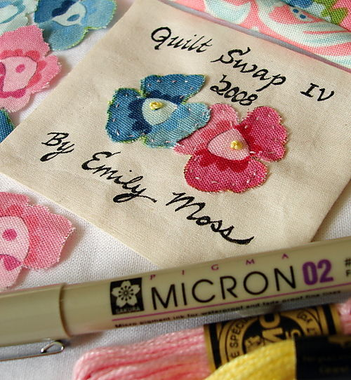 Quilt swap tag